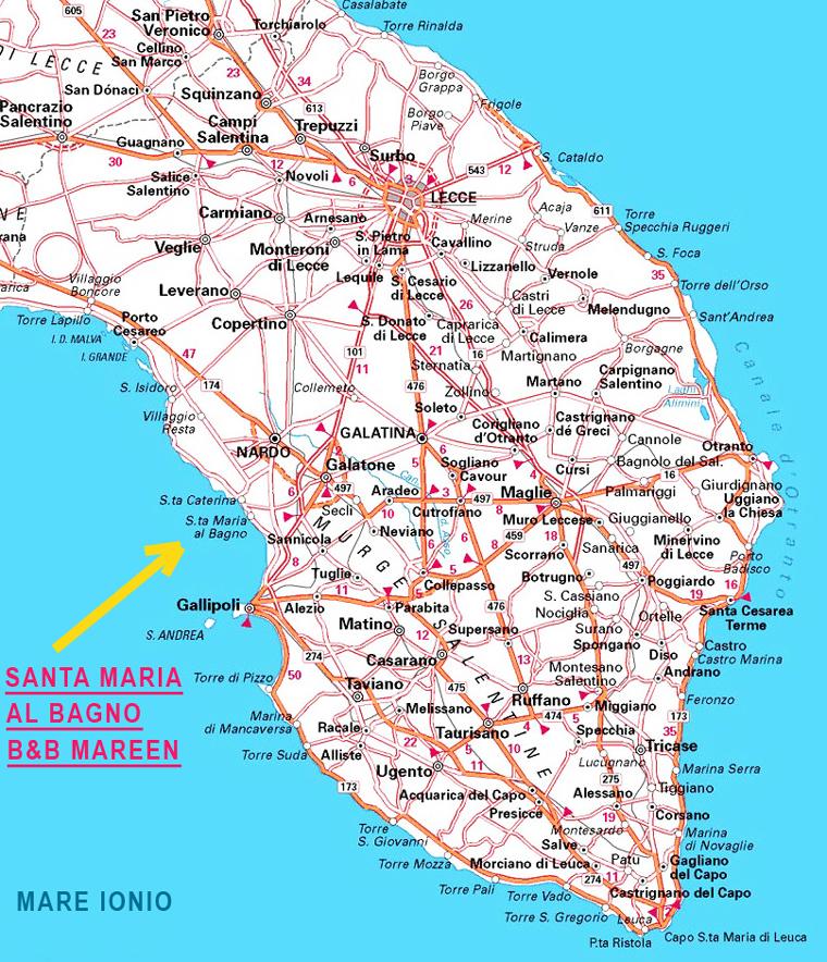 Santa Maria al Bagno, Mappa stradale Lecce Santa Maria al Bagno ...