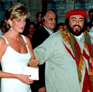 LADY DIANA AND PAVAROTTI Luciano Pavarotti and his Friends, an organization created to help and support carity organizations around the world, a big concert every summer in Modena Italy with Brian May from Queen, Steve Wonder, George Michael, Zucchero, Laura Pausini, Lady Diana as special guest, The Spice girls, Andrea Bocelli, Bono from U2, Liza Minelli, and an incredible list of international guest coming to help childrens as Luciano's Friends