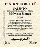 """Partemio"" I.G.T. ""Salento"" White Wine, grapes: white Malvasia of Brindisi 100%. The grapes are picked and carried to the winery on small carts . After crushing and stemming the product is introduced into a wine-making tanks where static settling takes place. The must is then racked and fermentation under controlled temperature is started. Alcohol 12,40 % vol. Total acidity 4,80 g/l Total sulphorous dioxide 70 mg/l pH 3,61 Party, Gastronomic combination: vegetable soups, white meat and fish dishes."